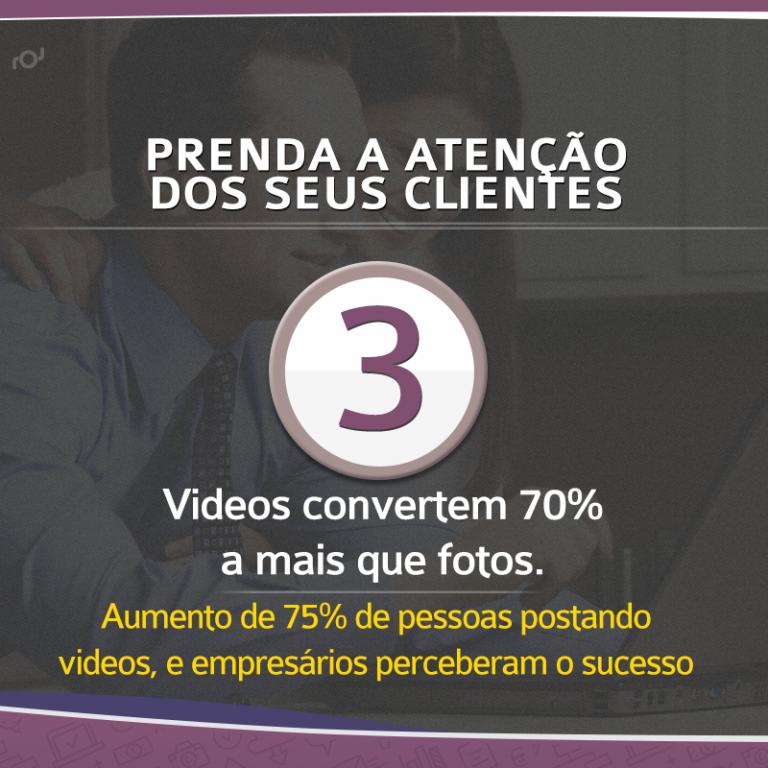 Vídeos convertem mais que fotos.